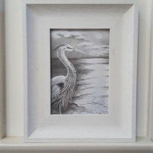 Framed Blue Heron picture
